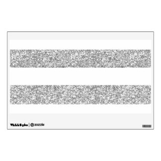Glamor White Stripes with Silver Glitter Printed Wall Stickers