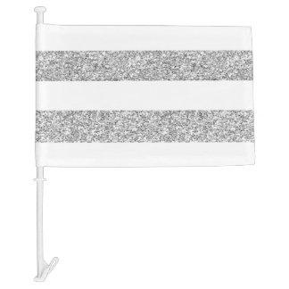 Glamor White Stripes with Silver Glitter Printed Car Flag