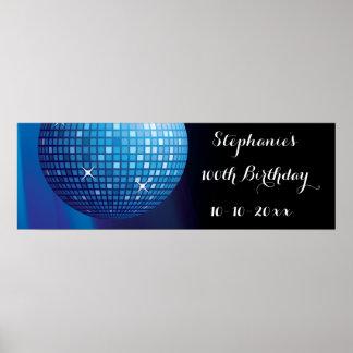Glamorous 100th Birthday Blue Party Disco Ball Poster