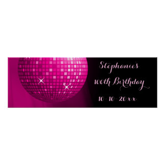 Glamorous 100th Birthday Hot Pink Party Disco Ball Poster