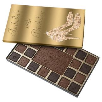 Glamorous 18th Birthday Gold Stilettos 45 Piece Box Of Chocolates