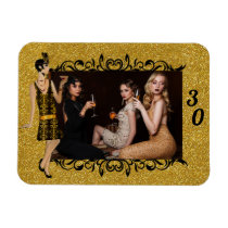 Glamorous 1920s Flapper Girl Gold 30th Photo Magnet