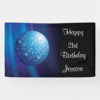 Glamorous 21st Birthday Blue Party Disco Ball Banner