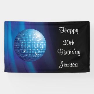 Glamorous 30th Birthday Blue Party Disco Ball Banner