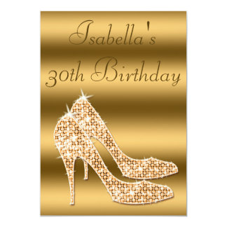 Glamorous 30th Birthday Gold Stilettos Invites