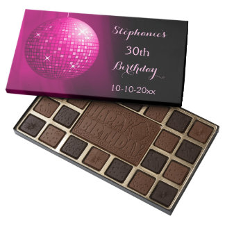 Glamorous 30th Birthday Pink Party Disco Ball Assorted Chocolates