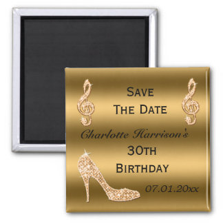 Glamorous 30th Save The Date Gold Stiletto 2 Inch Square Magnet