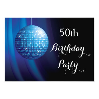 Glamorous 50th Birthday Blue Party Disco Ball Card