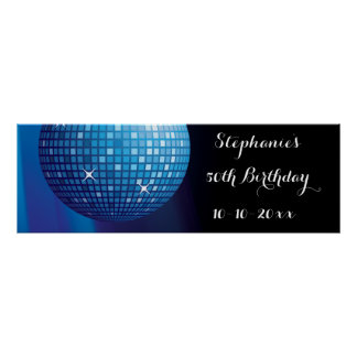 Glamorous 50th Birthday Blue Party Disco Ball Poster