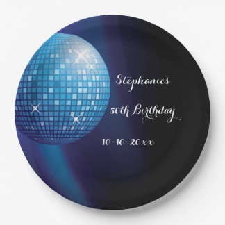Glamorous 50th Birthday Blue Party Disco Ball 9 Inch Paper Plate