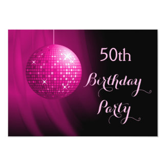Glamorous 50th Birthday Hot Pink Party Disco Ball Card