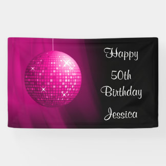 Glamorous 50th Birthday Pink Party Disco Ball Banner