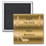 Glamorous 50th Save The Date Gold Stiletto 2 Inch Square Magnet