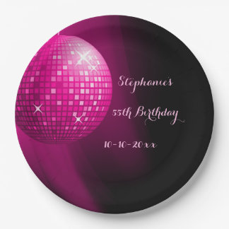 Glamorous 55th Birthday Hot Pink Party Disco Ball 9 Inch Paper Plate
