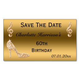 60th birthday save the date gifts on zazzle glamorous 60th save the date gold stiletto business card magnet bookmarktalkfo Gallery