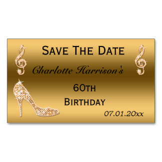 Glamorous 60th Save The Date Gold Stiletto Business Card Magnet