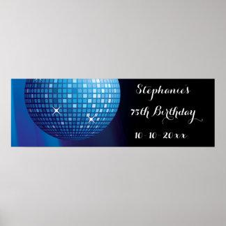 Glamorous 75th Birthday Blue Party Disco Ball Poster