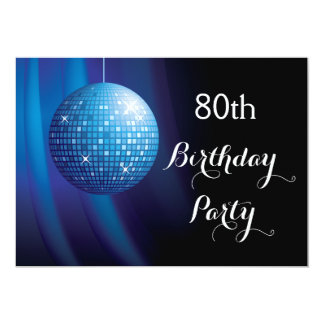 Glamorous 80th Birthday Blue Party Disco Ball Card