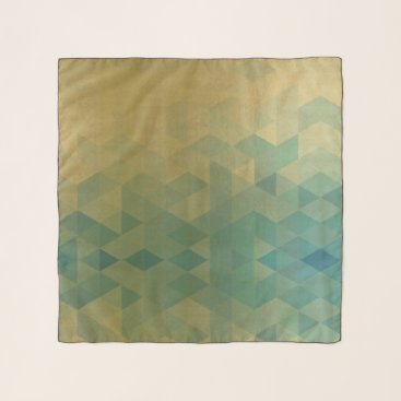 Professional Business GLAMOROUS AQUA BLUE GOLD FAUX TRIANGULAR PATTERN SCARF