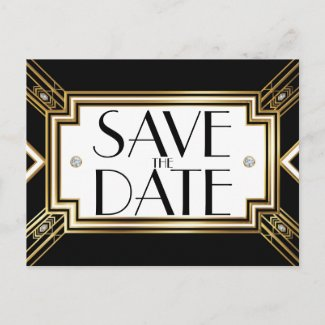 Glamorous Art Deco Geometric Wedding Save the Date Announcement Postcard