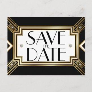 Glamorous Art Deco Geometric Wedding Save the Date Announcement Postcard