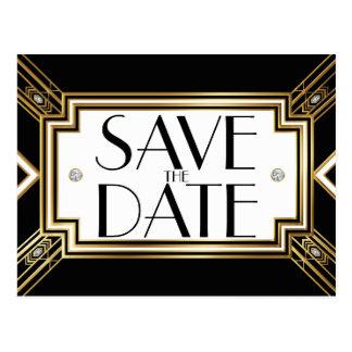 Glamorous Art Deco Geometric Wedding Save the Date Postcard