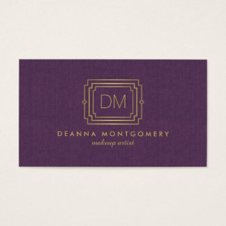 Glamorous Art Deco Purple and Gold Makeup Artist Business Card