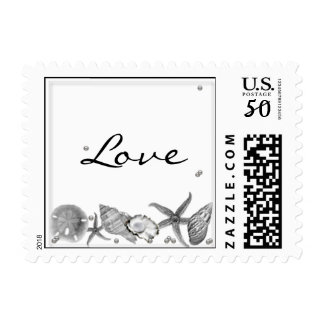 Glamorous Beach in Silver Postage Stamp