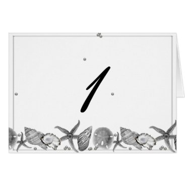 Beach Themed Glamorous Beach in Silver Table Number tent card