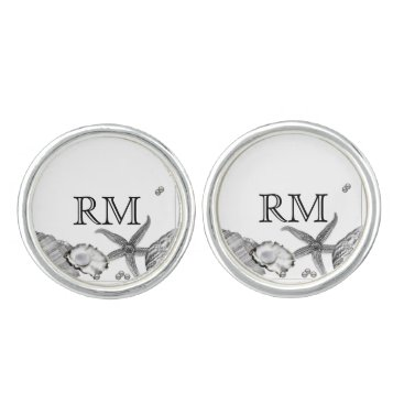 Beach Themed Glamorous Beach in Silver Wedding Cuff Links