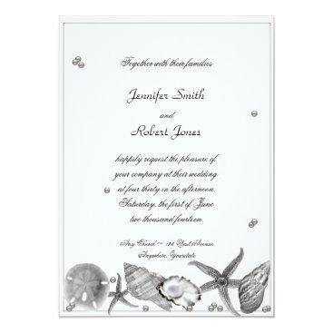Beach Themed Glamorous Beach in Silver Wedding Invitation