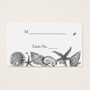 Beach Themed Glamorous Beach in Silver Wedding Place Cards