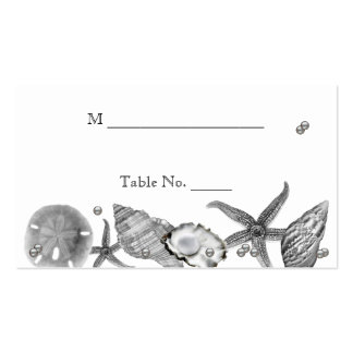 Glamorous Beach in Silver Wedding Place Cards Business Card