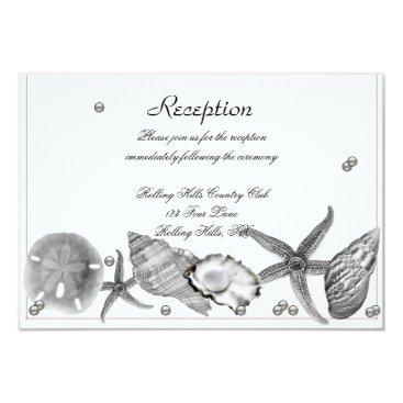 Beach Themed Glamorous Beach in Silver Wedding Reception Card
