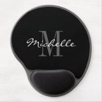 Glamorous black and white monogram gel mousepad