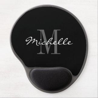 Glamorous black and white monogram gel mousepad