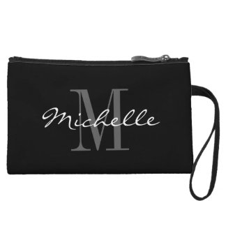 Glamorous black and white monogram mini clutch