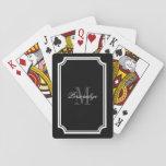 Glamorous black and white monogram playing cards at Zazzle