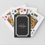 "Glamorous black and white monogram playing cards<br><div class=""desc"">Glamorous black and white monogram playing cards. Personalized name initial letter playing cards. Classy black and white or custom color. Chic design with stylish typography. Fancy monogrammed party favor gift idea for wedding, bridal shower, engagement, anniversary etc. Great for Las Vegas gambling theme parties. Also nice as custom thank you...</div>"