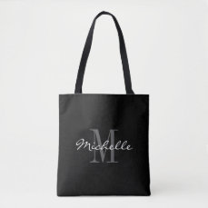 Glamorous black and white monogram tote bag