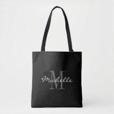 Glamorous Black And White Monogram Tote Bag at Zazzle