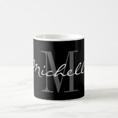 Glamorous Black And White Name Monogram Coffee Mug at Zazzle