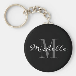 Glamorous black and white name monogram keychain