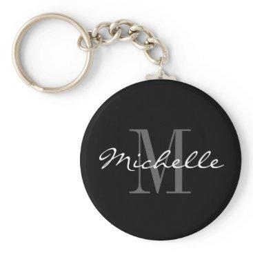 logotees Glamorous black and white name monogram keychain