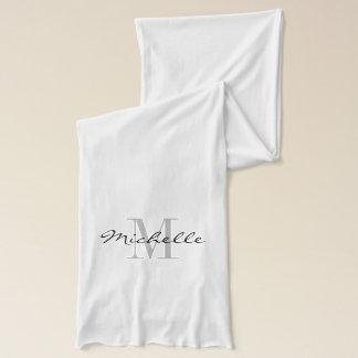 Glamorous black and white name monogram scarf
