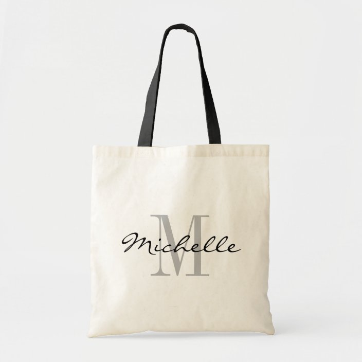 White Name Monogram Tote Bags