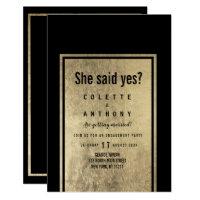 Glamorous black faux gold modern Engagement Party Invitation