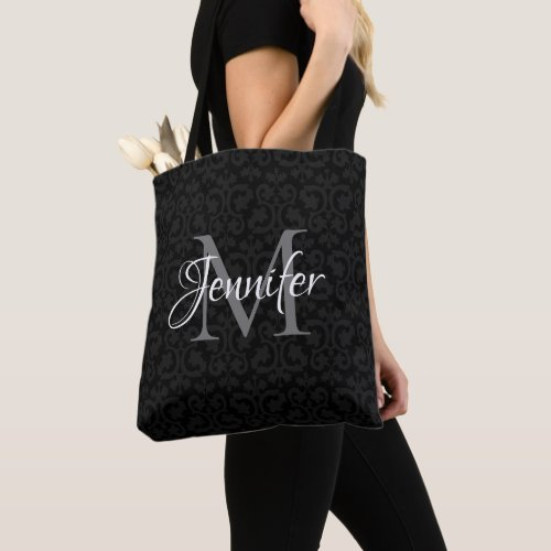 Glamorous Black Grey and White Monogram Tote Bag