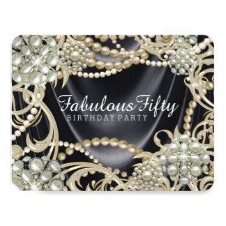 Glamorous Black Ivory Pearl Birthday Party Card