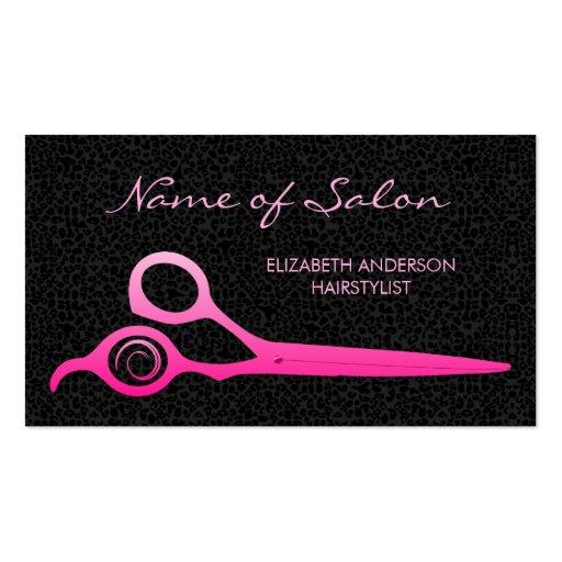 Glamorous Black Leopard Pink Hairstylist Scissors Business Card Templates